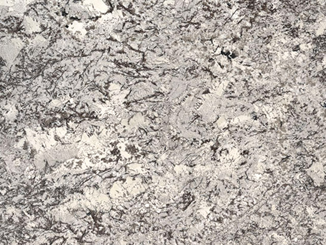 Delicatus White granite countertops feature large spots of white and earthy-tones